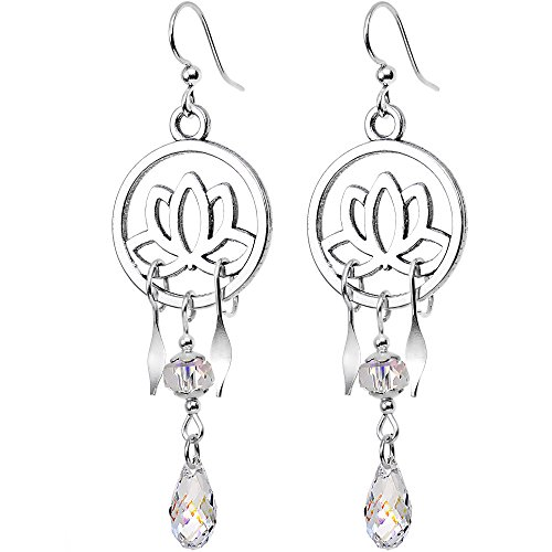 ed Silver Plated Lotus Chandelier Earrings Created with Swarovski Crystals (Swarovski Clear Crystal Chandelier Earrings)