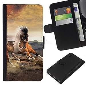 """Be-Star la tarjeta de Cr¨¦dito Slots PU Funda de cuero Monedero caso cubierta de piel Para Sony Xperia Z3 Plus / Z3+ / Sony E6553 (Not Z3) ( Mustang Nubes caballo al galope Spots"""" )"""