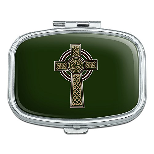 Trinket Pill Box (Celtic Christian Cross Irish Ireland Rectangle Pill Case Trinket Gift Box)