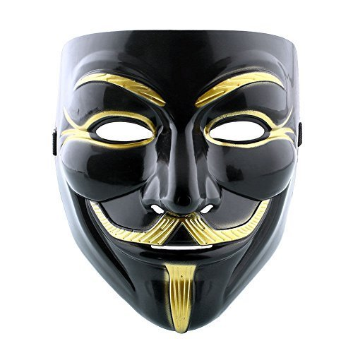 [Costume Anonymous V for Vendetta Fancy Dress Guy Fawkes Halloween Mask - Black & Gold by Indisguise] (Guys Fancy Dress)