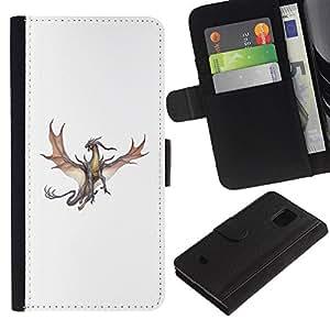 iKiki Tech / Cartera Funda Carcasa - Dragon Brown Grey Flying Fierce Cartoon - Samsung Galaxy S5 Mini, SM-G800, NOT S5 REGULAR!