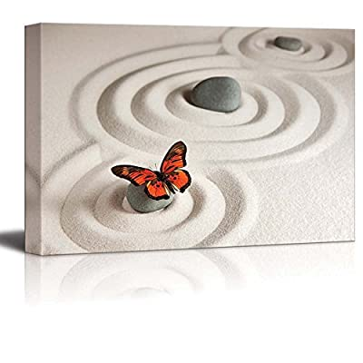 Canvas Prints Wall Art - Circles on White Sand and Zen Rocks with Butterfly | Modern Wall Decor/Home Art Stretched Gallery Canvas Wraps Giclee Print & Ready to Hang - 16