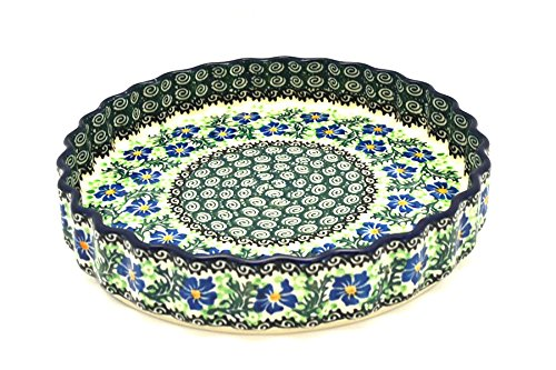 Polish Pottery Baker - Fluted Quiche - Large (9'') - Sweet Violet by Polish Pottery Gallery (Image #1)