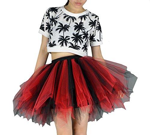 YSJERA Women's Tutu Tulle Mini A-Line Petticoat Prom Party Cosplay Skirt Fun Skirts (XL, Black+Red)