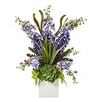 Artificial-Flowers-Purple-Delphinium-and-Succulent-Arrangement-Silk-Flowers