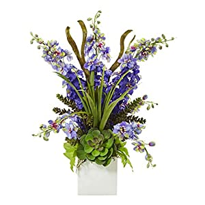 Artificial Flowers -Purple Delphinium and Succulent Arrangement Silk Flowers 52