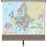 Essential Wall Maps Set on Roller w/ Backboard; 6-Map Choices. Wall mount hardware included.