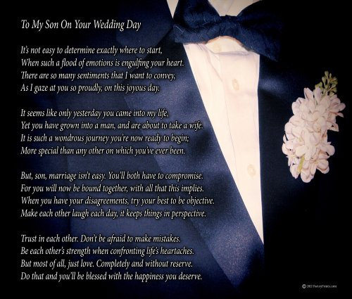To My Son On Your Wedding Day - One Parent - Poem Print (8x10) - Beautiful Groom Wedding Gift from Mom or Dad (Groom Gift To Bride)