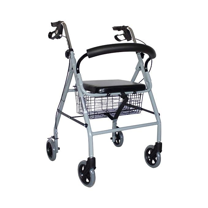 Mobiclinic, Modelo Alhambra, Andador para minusvalidos, mayores, adultos o ancianos, de aluminio, ligero, plegable, con asiento y 4 ruedas, Color Gris