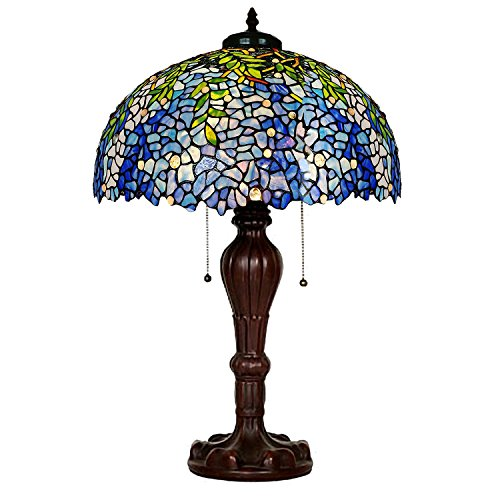 (Table Lamps,Magcolor Tiffany Style Stained Glass Purple Wisteria Table Lamp with 16 inches Handmade Lampshade and Brown Round Lamp Base Made of Zinc Alloy,Suitable for Decorating Room)