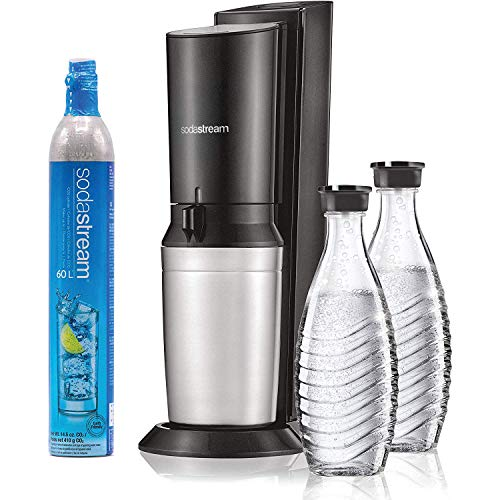 SodaStream Aqua Fizz Sparkling Water Machine (Black) With Co2 &Amp; Glass Carafes