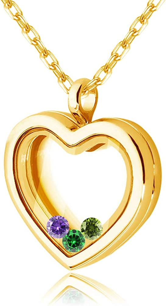 ShineSand Personalized Teardrop//Round//Heart Locket Necklace with 1-7 Charm Birthstones Customized Floating Living Memory Locket Necklace for Women