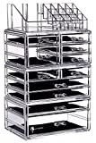 Cq acrylic Large 9 Tier Clear Acrylic Cosmetic Makeup Storage Cube Organizer with 11 Drawers. It Consists of 4 Separate Organizers, Each of Which Can be Used Individually -9.5''x6.5''x14.5''