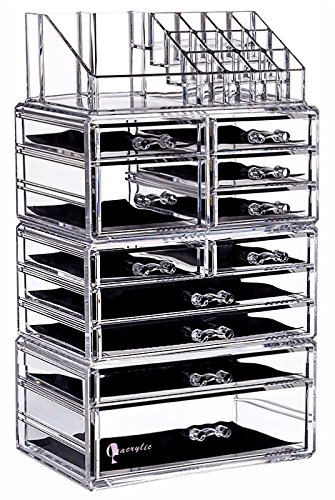 Cq acrylic Large 9 Tier Clear Acrylic Cosmetic Makeup Storage Cube Organizer with 11 Drawers. It Consists of 4 Separate Organizers, Each of Which Can be Used Individually -9.5
