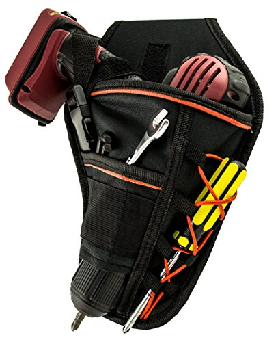 Heavy Gun Hammer Zip Duty (Drill Holster by Bastex - Heavy Duty Belt Worn Right Handed Holder, Fits Most T Handle Drills - Black and Orange)