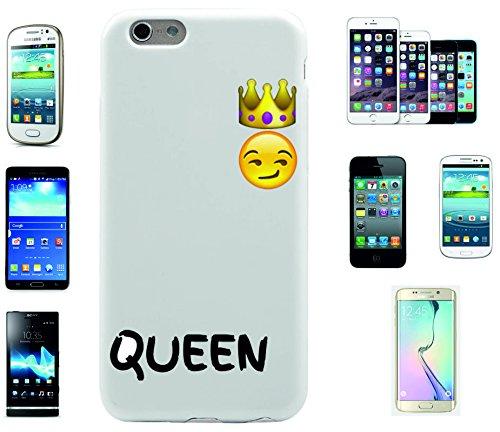 """Smartphone Case Apple IPhone 7+ Plus """"Grinsender Queen Smiley mit Krone und arogantem Blick"""", der wohl schönste Smartphone Schutz aller Zeiten."""