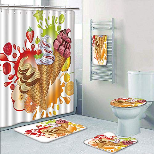 Bathroom 5 Piece Set shower curtain 3d print Multi Style,Ice Cream Decor,Various Flavor Summer Dessert with Peach Apricot Strawberry Sorbet Print Decorative,Multicolor,Bath Mat,Bathroom Carpet Rug,Non]()