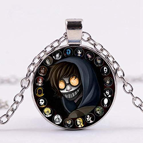 Creepypasta Necklace,Creepy Pasta Ticci Toby Necklace,Glass Pendant,Silver Chain Necklace