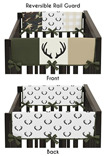 Sweet Jojo Designs Green and Beige Deer Buffalo Plaid Check Side Crib Rail Guards Baby Teething Cover Protector Wrap for Woodland Camo Collection - Set of 2 - Rustic Camouflage