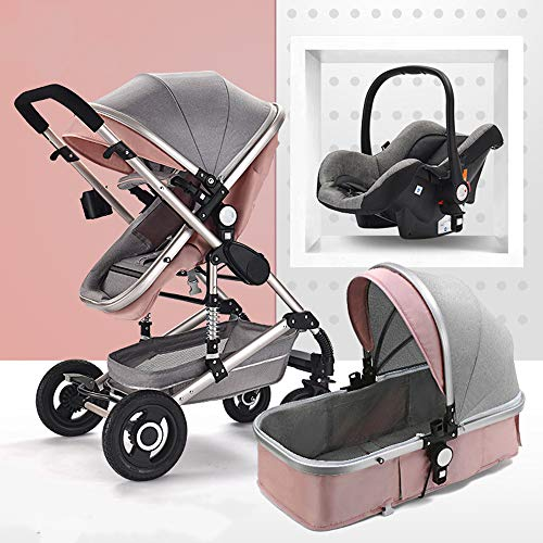 Strollers 55cm high Landscape Design Open Your Baby's Horizons Triple Shock Absorption Comfortable and Safe Avoid The Exhaust Baby Carriage,Pink,7004501180mm