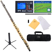 Mendini Closed/Open-Hole Key of C Flute with B-Foot Joint, Black Nickel Plated with Gold Keys and Tuner, Case, Stand, Pocketbook - MFE-30BNG+SD+PB+92D