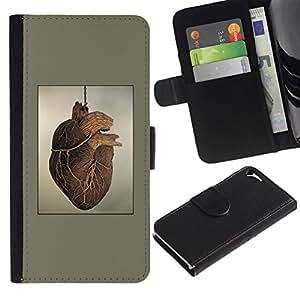 All Phone Most Case / Oferta Especial Cáscara Funda de cuero Monedero Cubierta de proteccion Caso / Wallet Case for Apple Iphone 5 / 5S // Heart Anatomy Human Drawing Art Painting