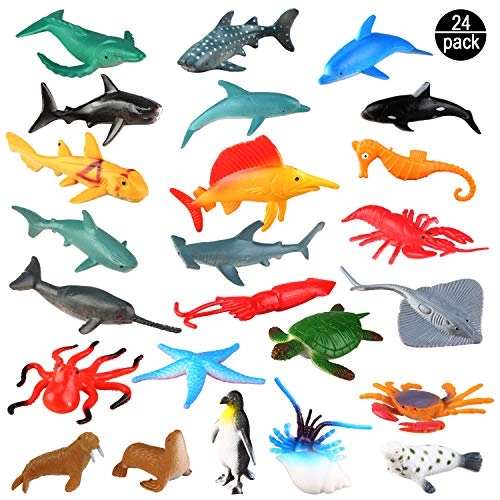 Sea Ocean Animals Plastic Pool Toys Set (24 Pack) for Party Favor Supplies - Display Model Play Set Realistic Deep Sea Animal Figures Birthday Gifts with Turtle Octopus Shark for Children Education ()
