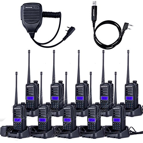 10-Pack NKTECH UV-82 Plus VHF UHF Dual Band CTCSS Ham Two Way Radio Transceiver Walkie Talkie 1800mAh 7.4V Li-ion Batteries Accessories Warranty + 1X Cable + 1X Speaker by NKTECH