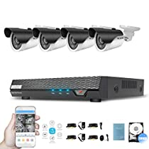 CCTV Security Camera System 500G DVR with 4 Weatherproof Surveillance Cameras Day and Night Video Camera System Motion Alert Security Camera System