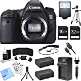 Canon EOS 6D CMOS Digital SLR Camera, Batteries, and Cards Bundle - Includes Camera, 2 Batteries, Battery Charger, 6GB and 32GB Cards, Flash, Tripod, mini-HDMI to HDMI A/V Cable, and More