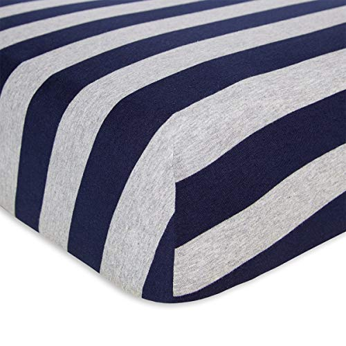 Burt's Bees Baby - Fitted Crib Sheet, Boys & Unisex 100% Organic Cotton Crib Sheet For Standard Crib and Toddler Mattresses (Blueberry Bold Stripes) (Toddler Bed Sheets Spiderman)