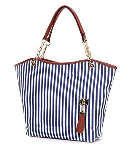 Fansela(TM) Girls Cute Stripe Canvas Shoulder Handbag Blue