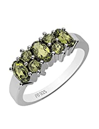 1.45ctw,Genuine Peridot & Solid .925 Sterling Silver Rings