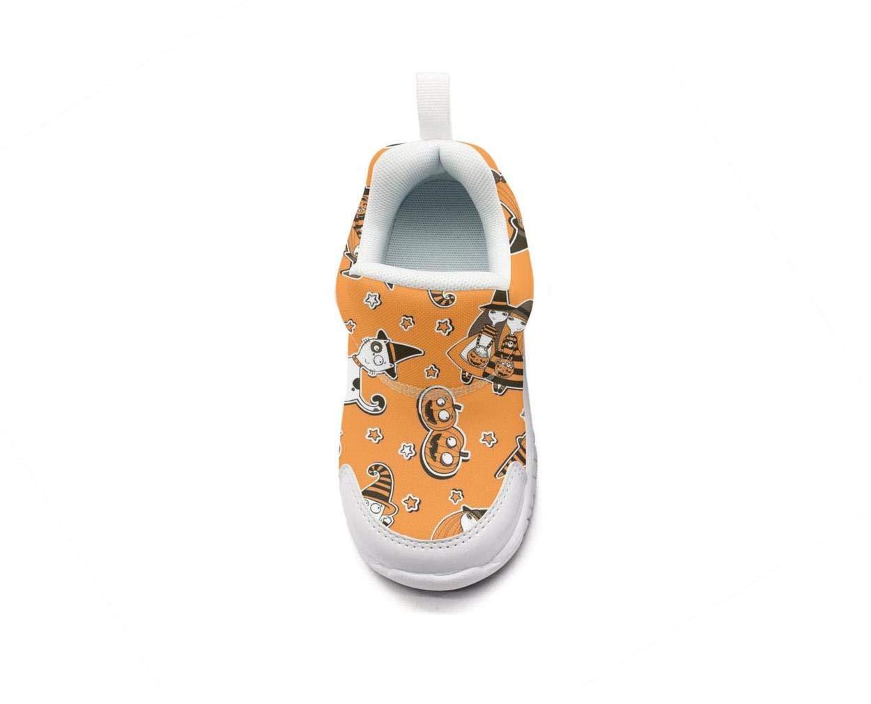 ONEYUAN Children Cat Halloween Pumpkin Ghost Orange Kid Casual Lightweight Sport Shoes Sneakers Running Shoes