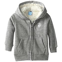 US Polo Association Baby Boys' Fleece Jacket with Hood and Sherpa Lining
