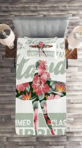 Coral Green 3 Piece Decorative Quilted Bedspread Set with 2 Pillow Shams Lunarable Hawaiian Coverlet Set King Size Tropical Hawaii Hibiscus Surfing Girl Silhouette Surfboard Retro Themed Artprint
