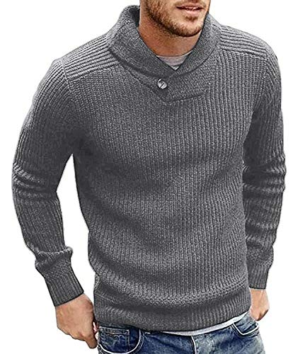 Hestenve Mens Sweater Wool Blend Knitted Shawl Collar Ribbed Pullover Warm Hooded Coat Grey