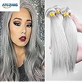 ATOZWIG 8A Brazilian Straight Virgin Hair Platinum Grey hair extension 3Pcs Human Hair Extensions Silver Grey Hair Weaves Fast Shipping 50G/Bundle