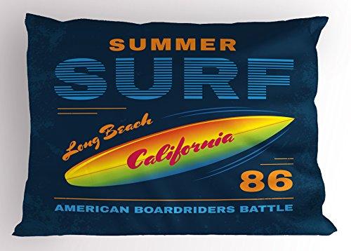 (Lunarable Surf Pillow Sham, American Boardriders Symbol Long Beach Sun Standing in Ocean Waves Illustration, Decorative Standard Size Printed Pillowcase, 26 X 20 Inches, Navy Blue Orange)