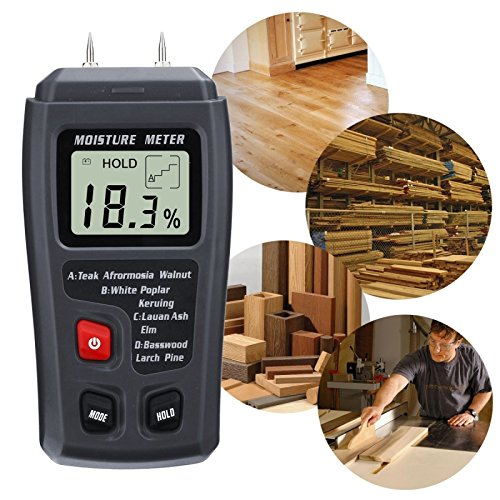 Digital Moisture Meter, LIUMY  0.5% Accuracy Wood Moisture Meter with 2 Pins / 4 Types of Wood Species / Portable LCD Display Moisture Detector (ABS plastic)