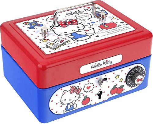 Hello Kitty Metal Small Cash Box with Coin Tray Money Safe Storage Case Dial Lock & Key