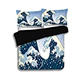 Difference Between Cal King and Eastern King Black Duvet Cover Set Queen Size,Japanese Wave,Far Eastern Painting Oceanic Storm Theme Tsunami Wind Water Artwork,Teal Blue White,Decorative 3 Pcs Bedding Set by 2 Pillow Shams