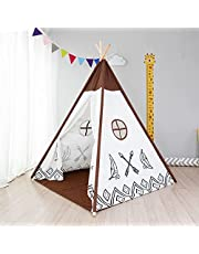 Kids Teepee with Mat for Girls Boys Play Tipi Tent for Playhouse Playroom Decor Best Gift (Brown)