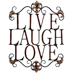 """Live Laugh Love Modern Abstract Metal Wall Art Home Decor Decoration 28""""h, 21""""w"""