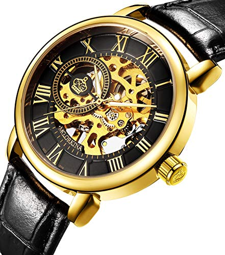 Wristwatch Men's Royal Classic Roman Index Hand-Wind Mechanical Watch Gold-Black