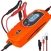 AIMTOM 7.2Amp Smart Battery Charger 9 Stages Ultra-Safe 12V Intelligent Maintainer for Car RV SUV Truck Motorcycle Boat Lawn Mower Use, Fits Sealed Lead Acid, Lithium, LIFEPO4 Batteries …