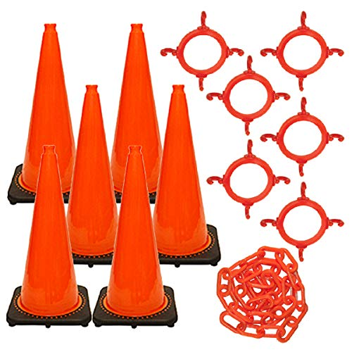 Mr. Chain Traffic Cone and Chain Kit, Traffic Orange, 28-Inch Height (93213-6)