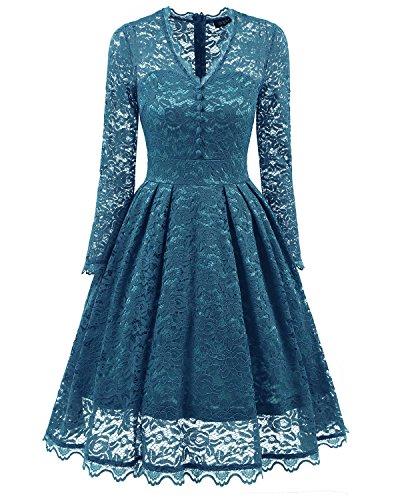 Bright Deer Damen Langärmliges Midi-Ballkleid aus Spitze mit V-Ausschnitt,  Ausgestelltes Kleid. Abendkleid ... 6e8b87d3e9