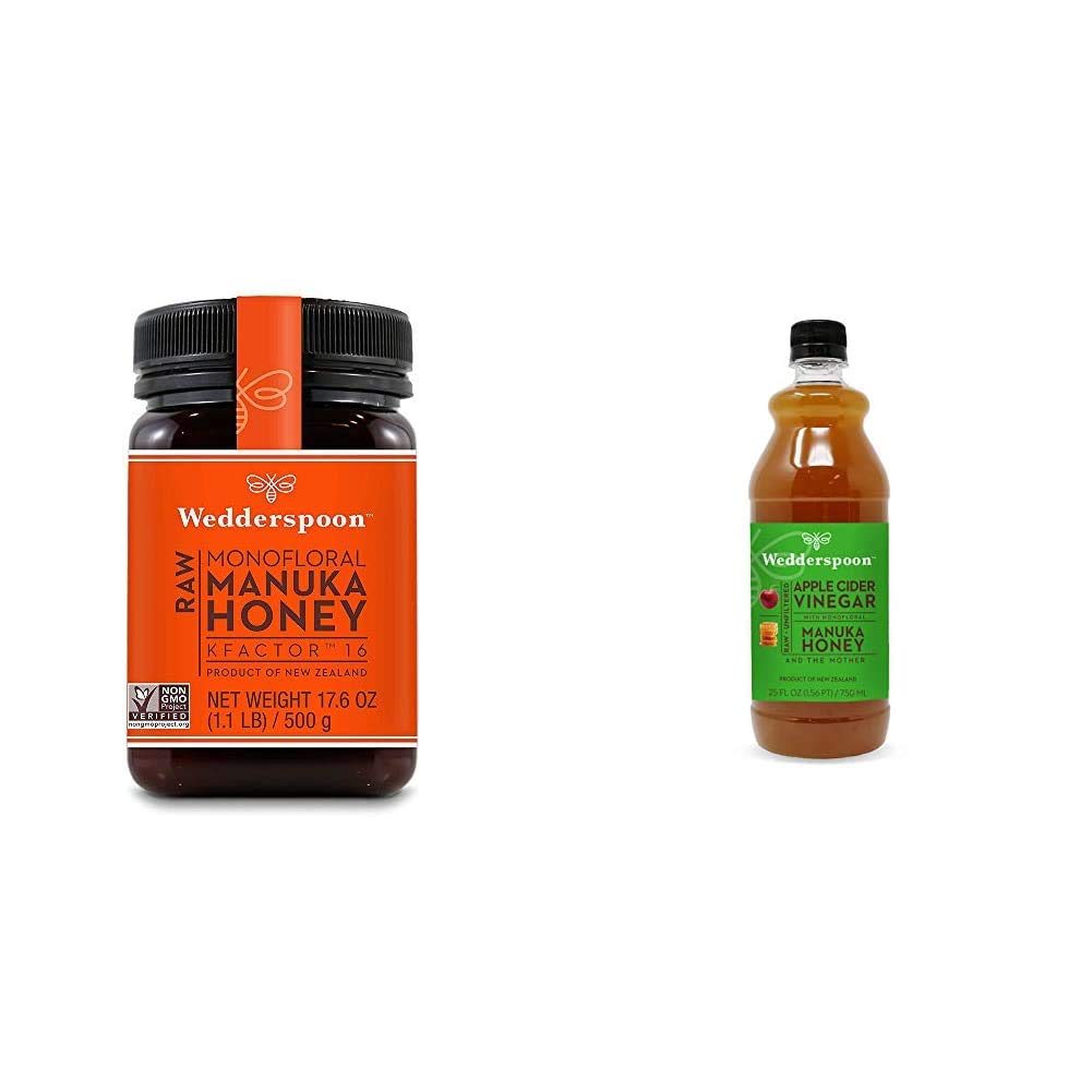 Wedderspoon Raw Premium Manuka Honey KFactor 16+, 17.6 Ounce & Apple Cider Vinegar With Monofloral Manuka Honey & The Mother, 25 fl oz
