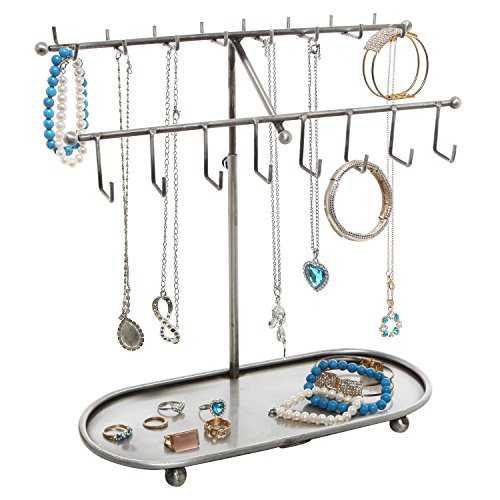 15 In Silver Metal Height Adjustable 24 Hook Jewelry Organizer / Necklace & Bracelet Hanger w/ Ring Tray